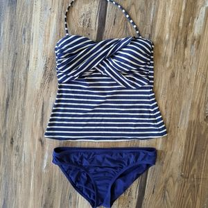 Liz Claiborne tankini blue and cream stripe